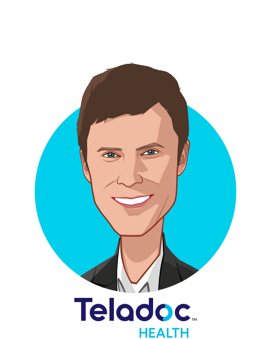 Main caricature of David Sides, who is speaking at HLTH and is COO at Teladoc Health
