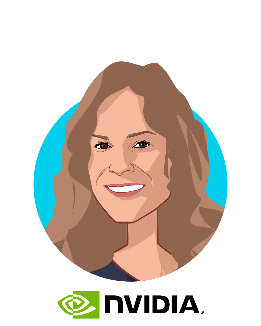 Main caricature of Kimberly Powell, who is speaking at HLTH and is VP Healthcare at NVIDIA