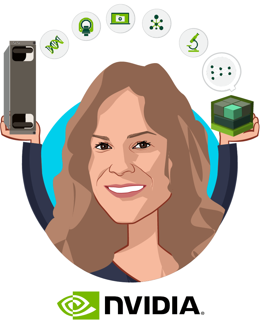 Overlay caricature of Kimberly Powell, who is speaking at HLTH and is VP Healthcare at NVIDIA