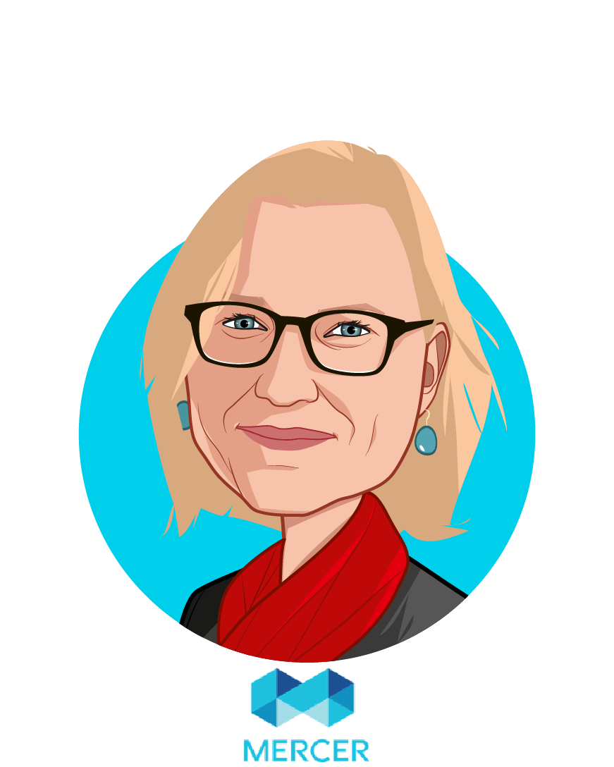 Main caricature of Dr. Lorna Friedman, who is speaking at HLTH and is Global Health Leader Multinational Client Group at Mercer