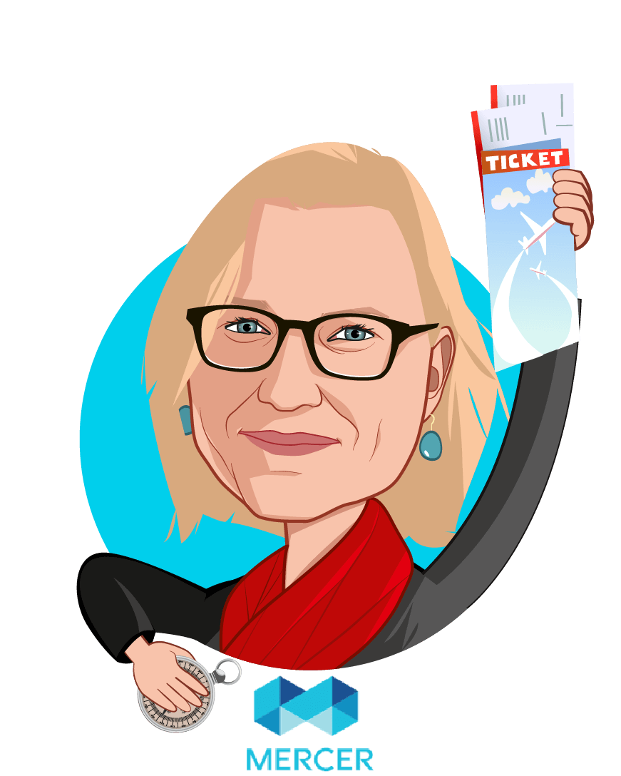 Overlay caricature of Dr. Lorna Friedman, who is speaking at HLTH and is Global Health Leader Multinational Client Group at Mercer