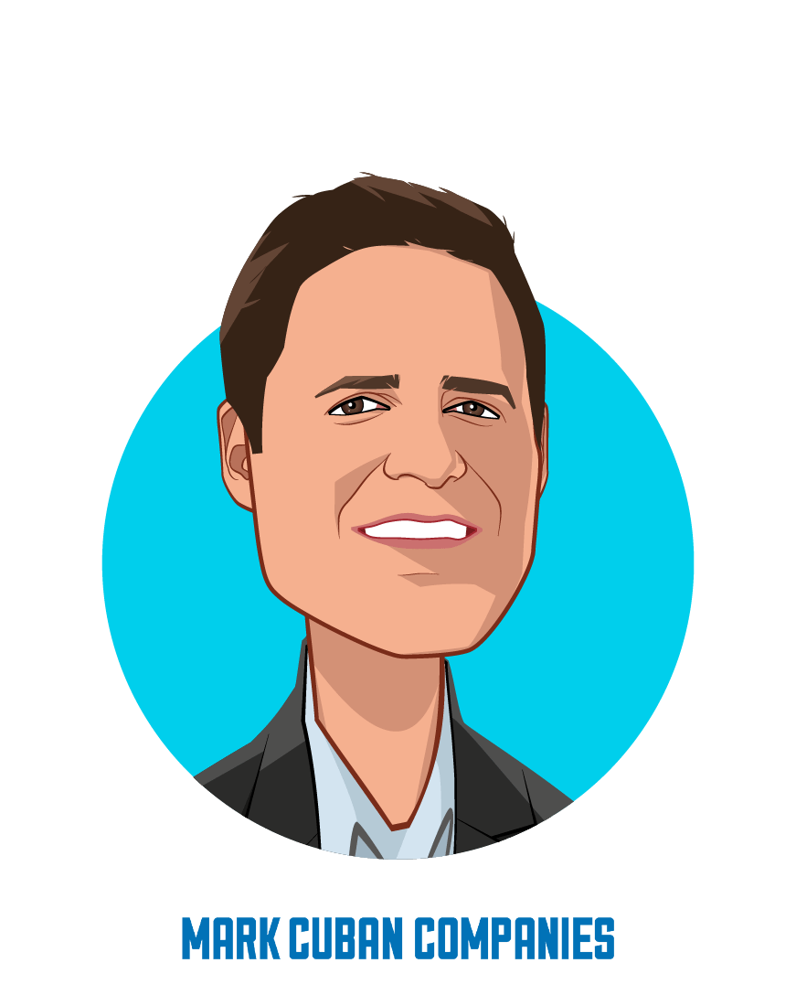 Main caricature of Mark Cuban, who is speaking at HLTH and is Entrepreneur at Mark Cuban Companies