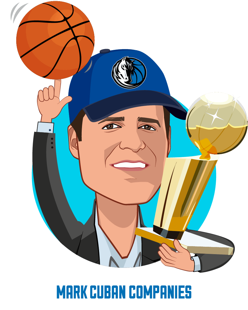 Caricature of Mark Cuban, who is speaking at HLTH
