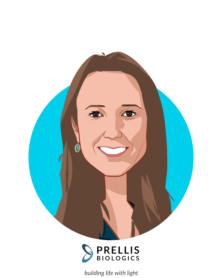 Main caricature of Melanie Matheu, who is speaking at HLTH and is CEO + Founder at Prellis Biologics, Inc.