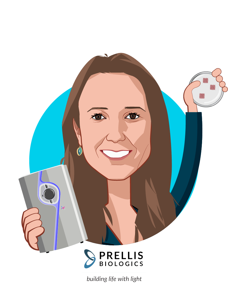 Overlay caricature of Melanie Matheu, who is speaking at HLTH and is CEO + Founder at Prellis Biologics, Inc.