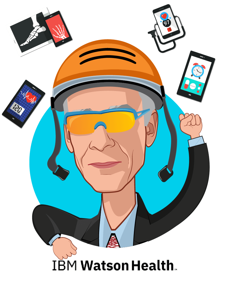 Overlay caricature of Dr. Nathan Levitan, MD, MBA, who is speaking at HLTH and is Chief Medical Officer, IBM Watson Health Oncology & Genomics at IBM