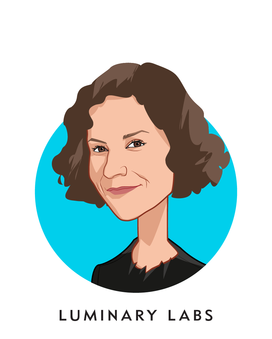 Main caricature of Sara Holoubek, who is speaking at HLTH and is CEO at Luminary Labs