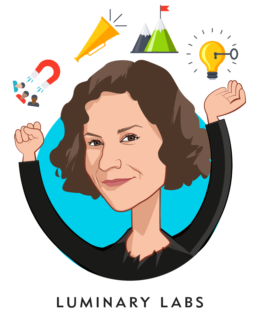 Overlay caricature of Sara Holoubek, who is speaking at HLTH and is CEO at Luminary Labs