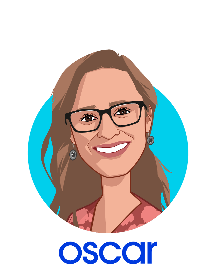 Main caricature of Sara Wajnberg, who is speaking at HLTH and is Chief Product Officer at Oscar Health