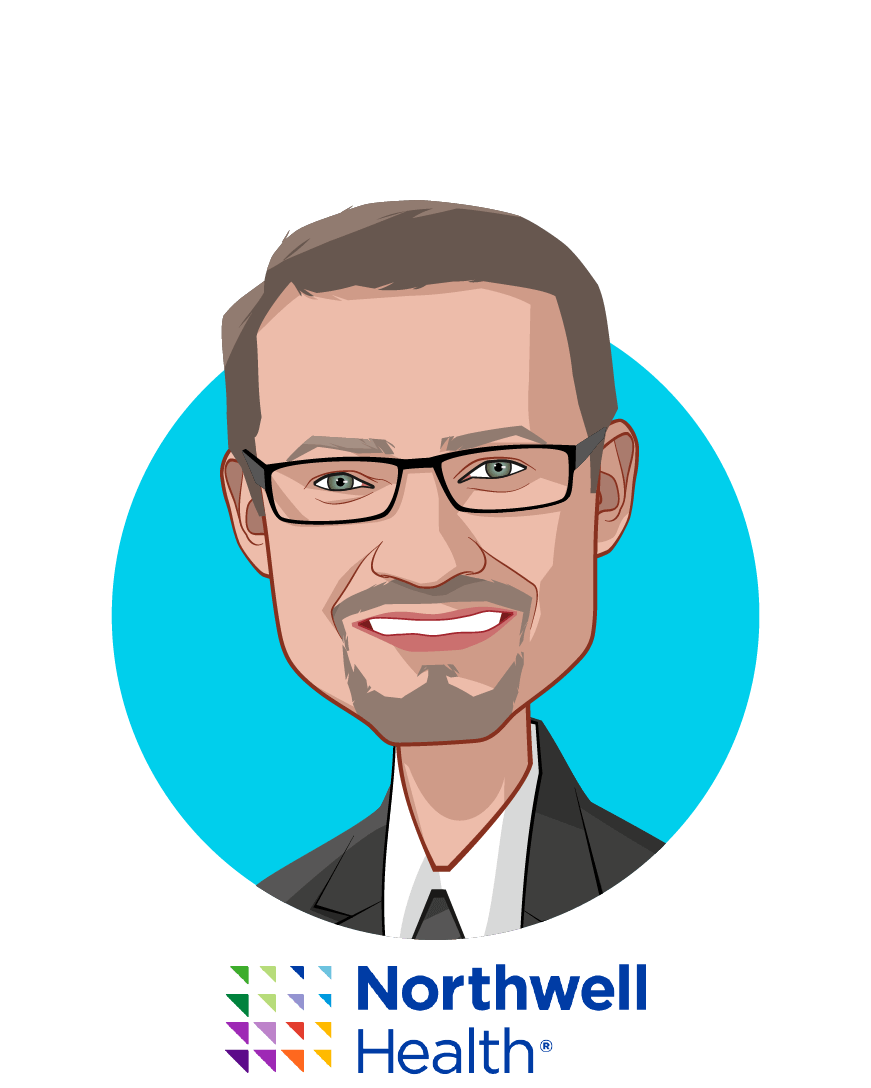 Main caricature of Sven Gierlinger, who is speaking at HLTH and is Chief Experience Officer at Northwell Health