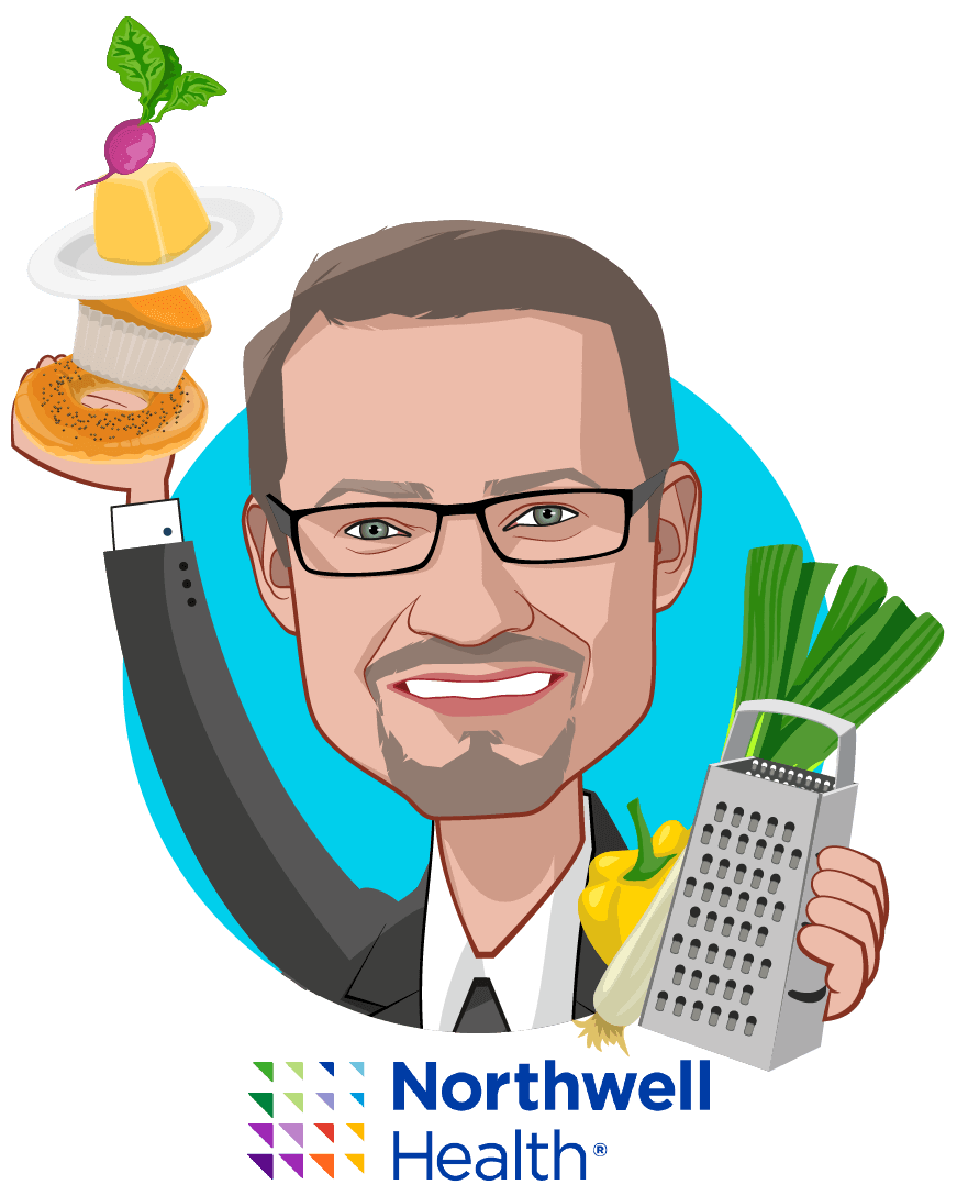 Overlay caricature of Sven Gierlinger, who is speaking at HLTH and is Chief Experience Officer at Northwell Health