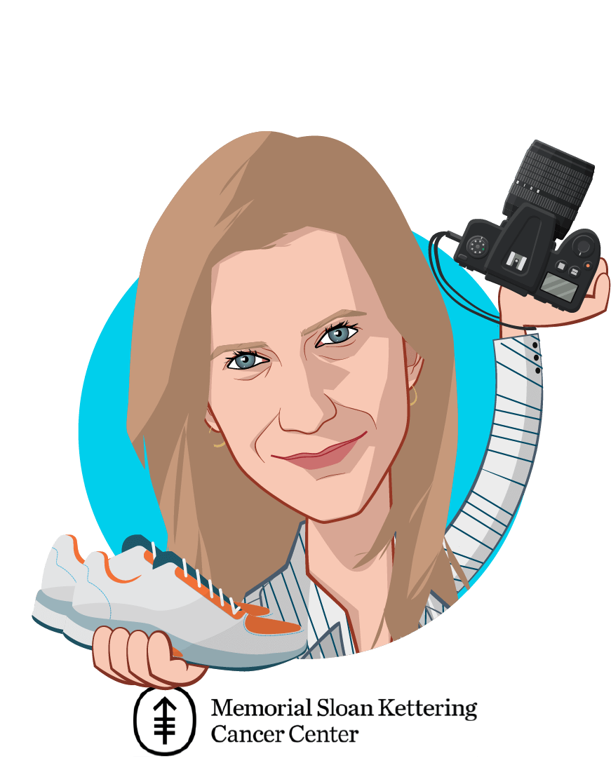 Overlay caricature of Anna Kaltenboeck, MA, who is speaking at HLTH and is Program Director / Senior Health Economist at Memorial Sloan Kettering Cancer Center
