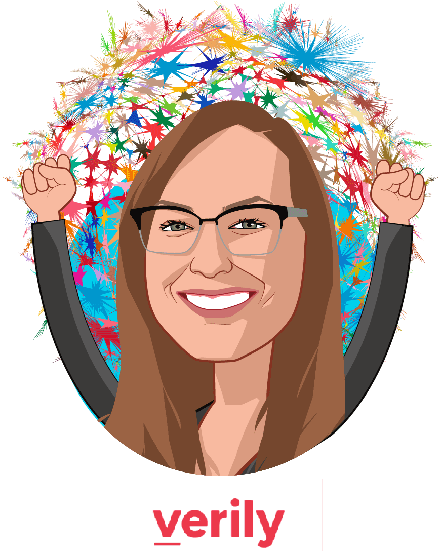 Overlay caricature of Ashley Moulton, who is speaking at HLTH and is Head of Clinical Partnerships, Project Baseline at Verily