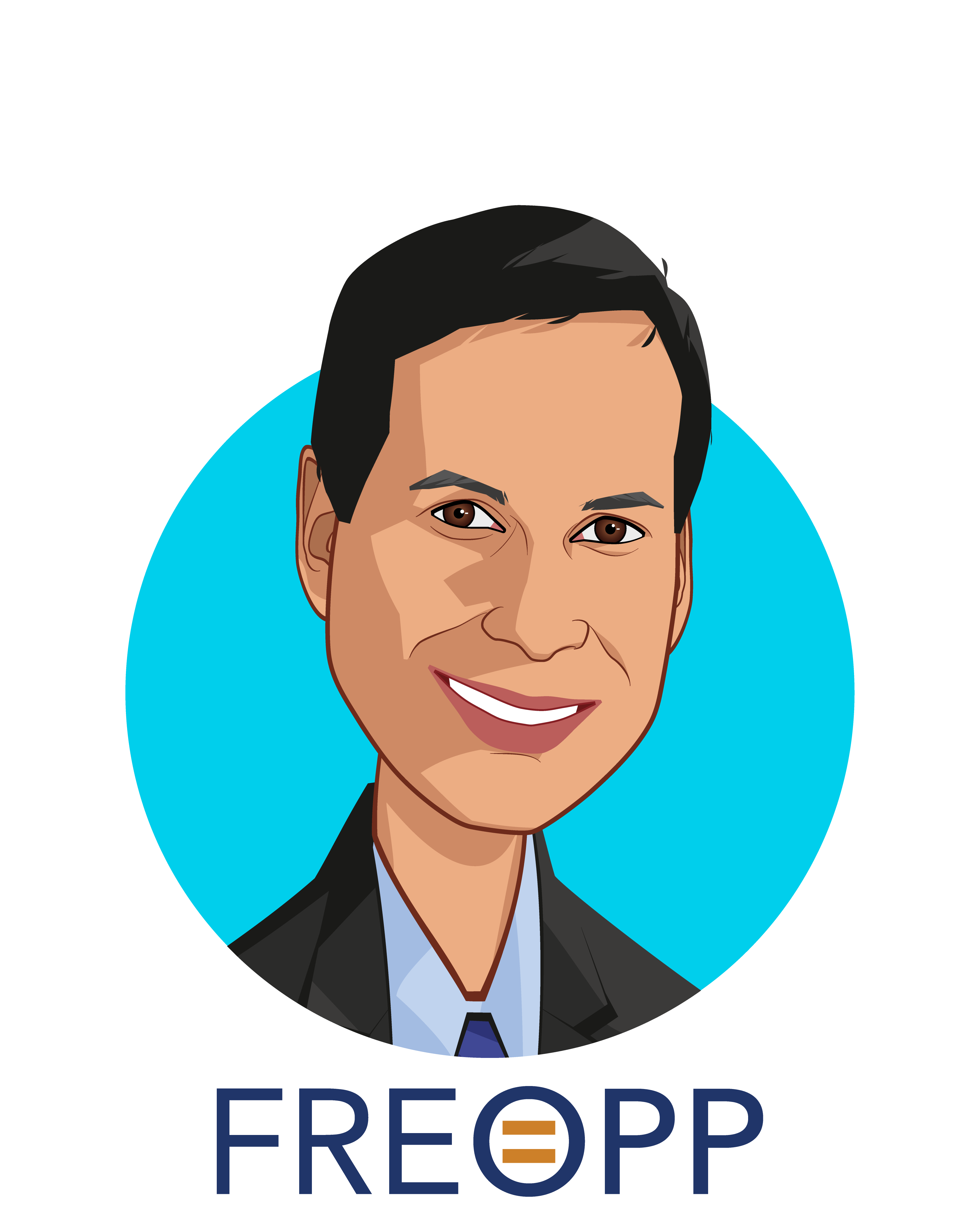 Overlay caricature of Avik Roy, who is speaking at HLTH and is President at The Foundation for Research on Equal Opportunity