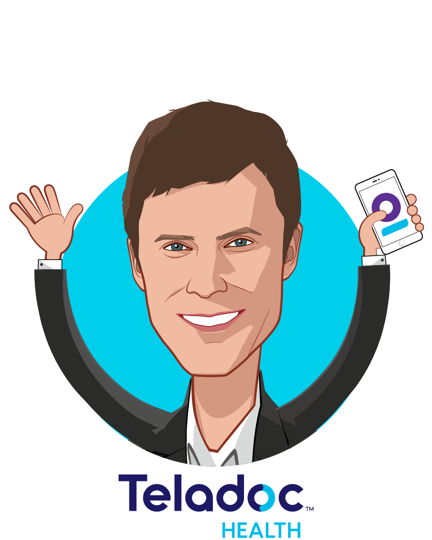 Overlay caricature of David Sides, who is speaking at HLTH and is COO at Teladoc Health