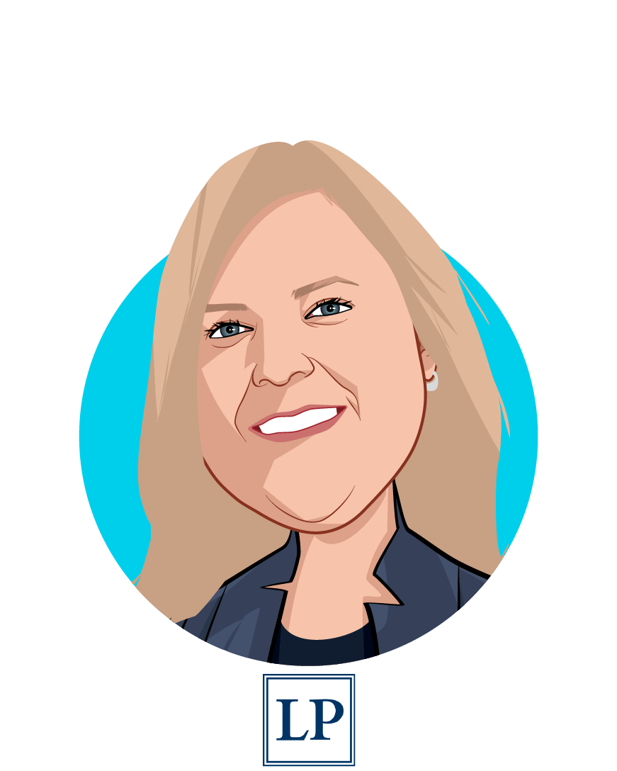 Main caricature of Elizabeth M. Wroe, who is speaking at HLTH and is Principal at Leavitt Partners