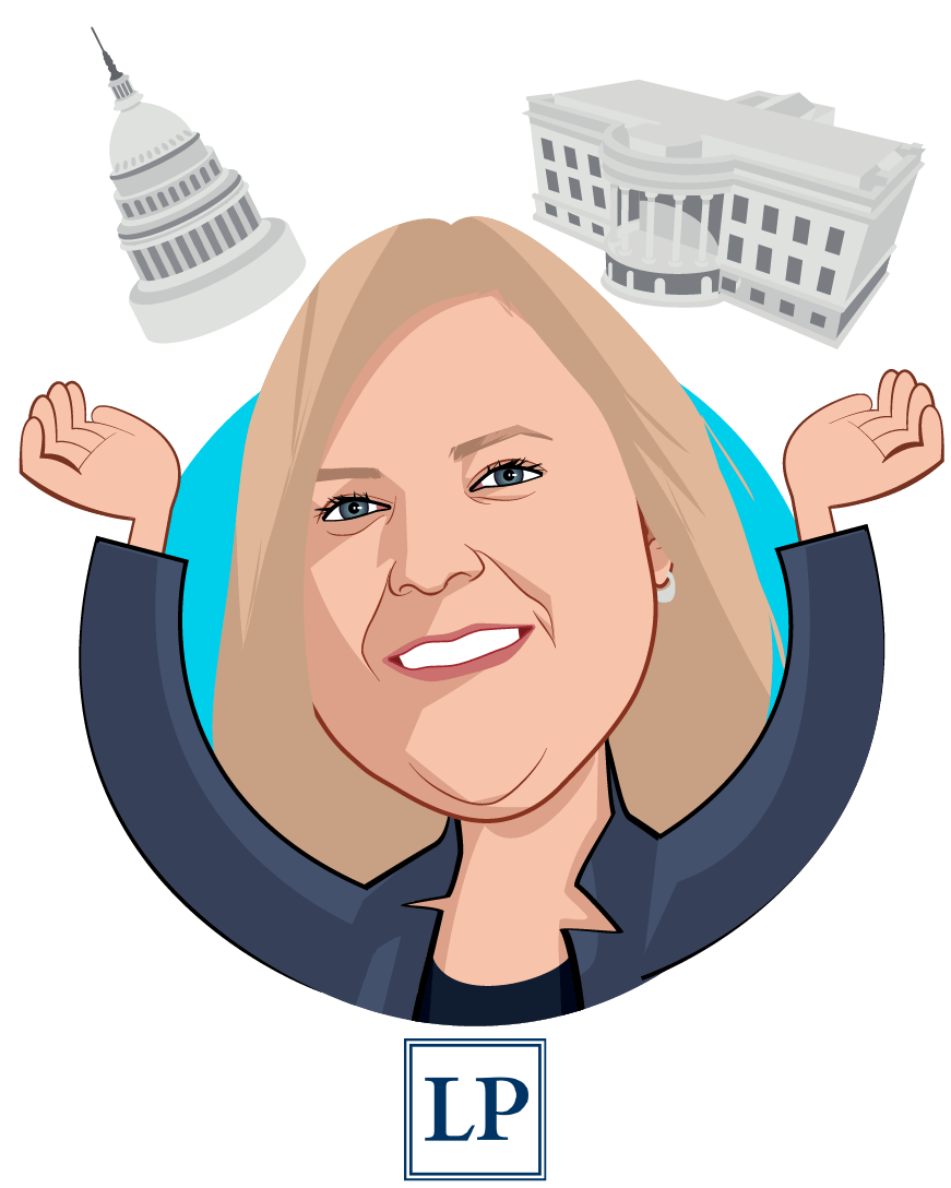 Overlay caricature of Elizabeth M. Wroe, who is speaking at HLTH and is Principal at Leavitt Partners
