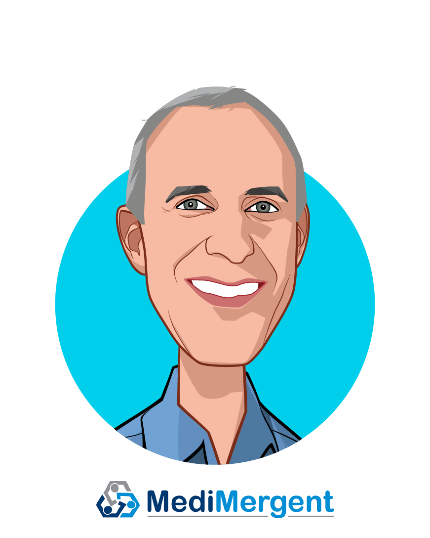 Main caricature of Greg Simon, who is speaking at HLTH and is Former President, Biden Cancer Initiative at Acting President, MediMergent LLC
