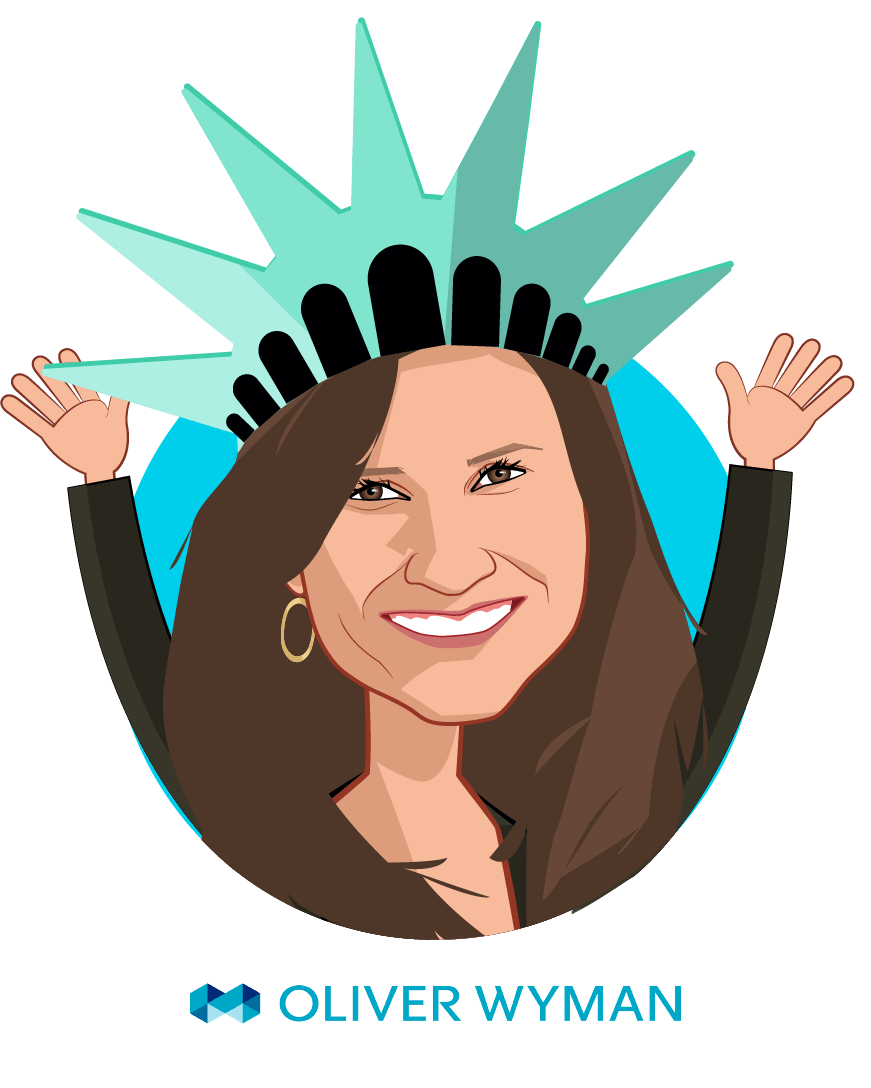 Overlay caricature of Helen Leis, who is speaking at HLTH and is Partner at Oliver Wyman