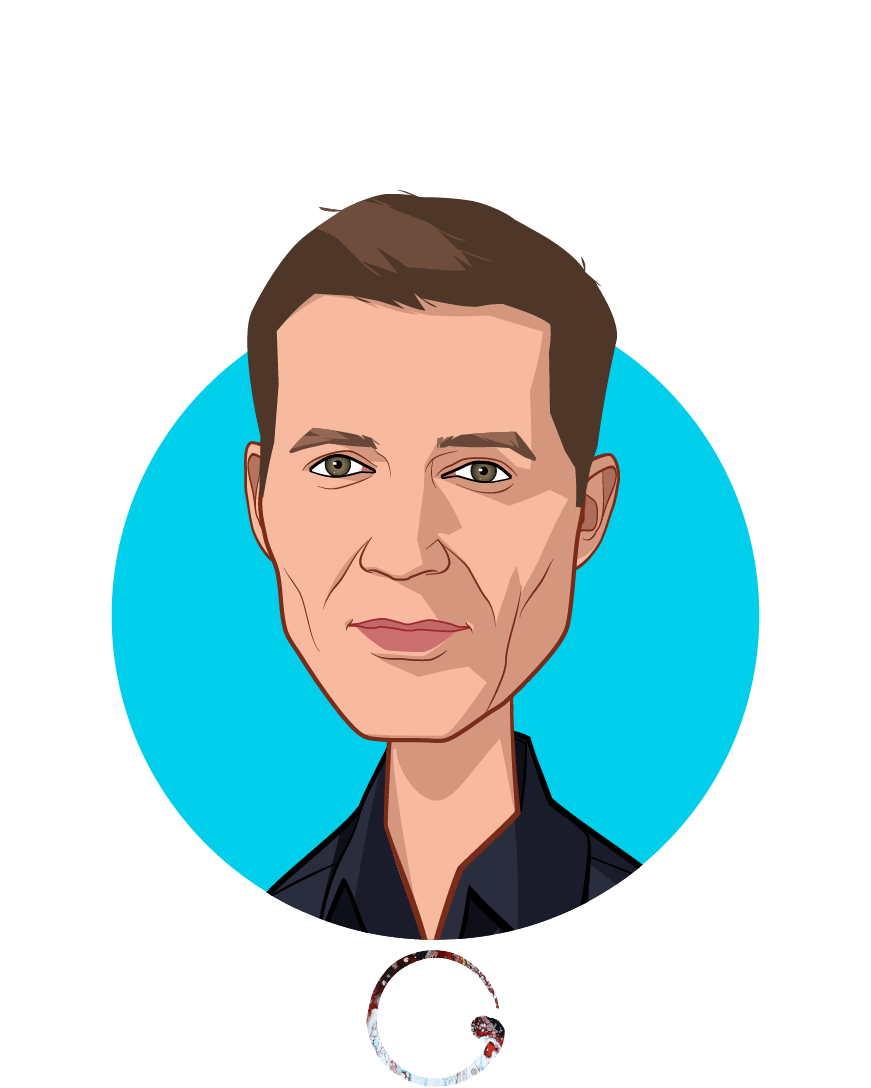 Overlay caricature of Joel Dudley, who is speaking at HLTH and is Co-Founder at Onegevity Health