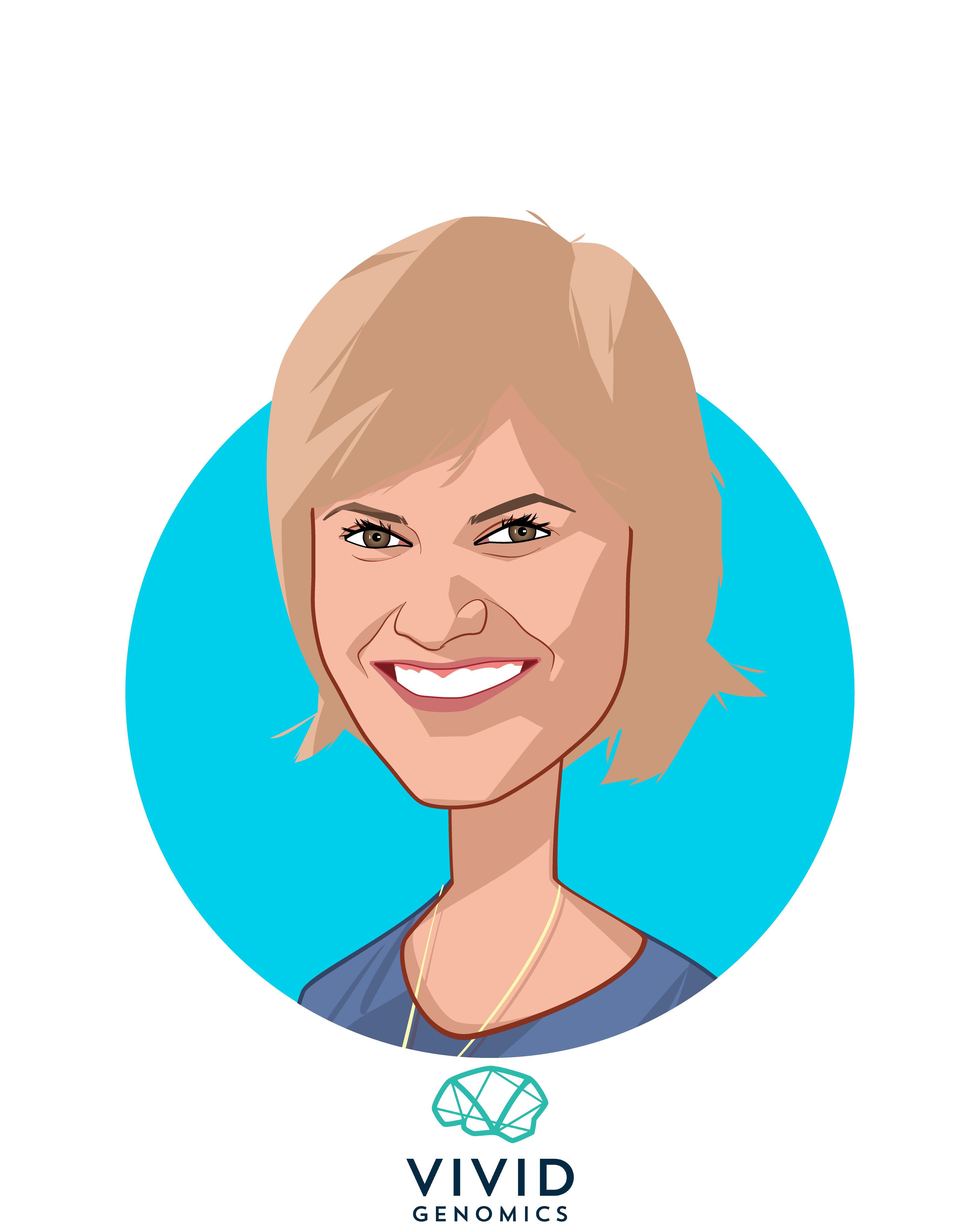 Overlay caricature of Julie Collens, who is speaking at HLTH and is CEO at Vivid Genomics