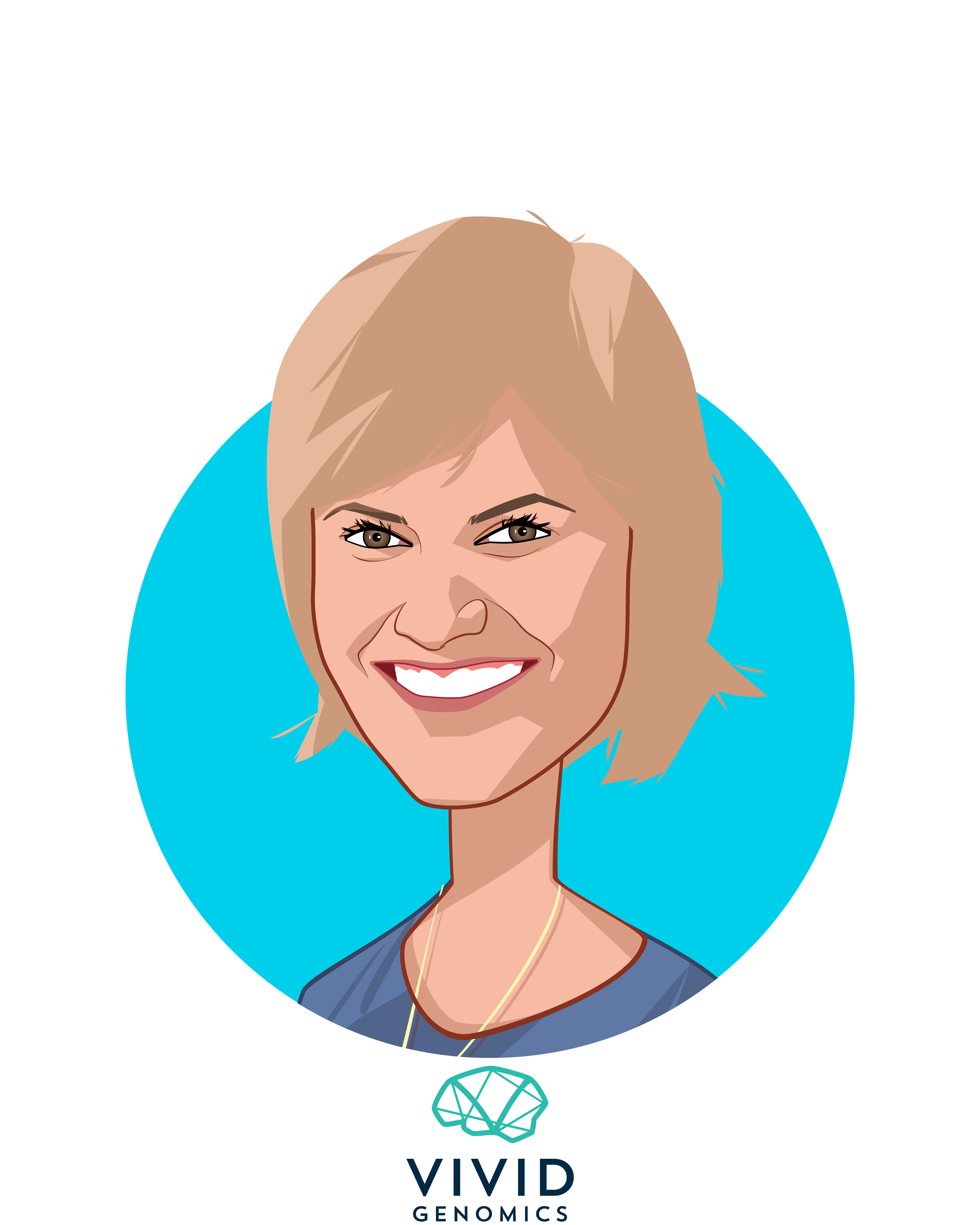 Main caricature of Julie Collens, who is speaking at HLTH and is CEO at Vivid Genomics