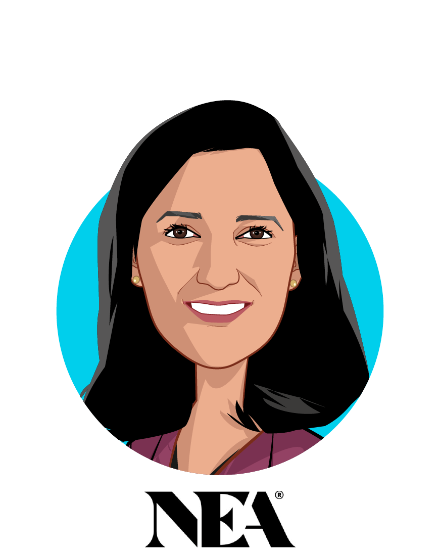 Main caricature of Dr. Kavita Patel, who is speaking at HLTH and is Venture Partner at NEA