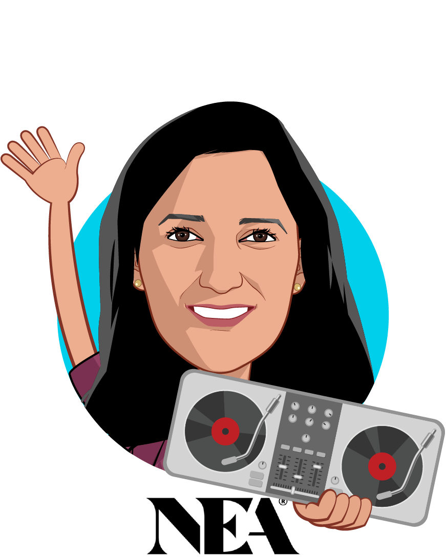 Overlay caricature of Dr. Kavita Patel, who is speaking at HLTH and is Venture Partner at NEA