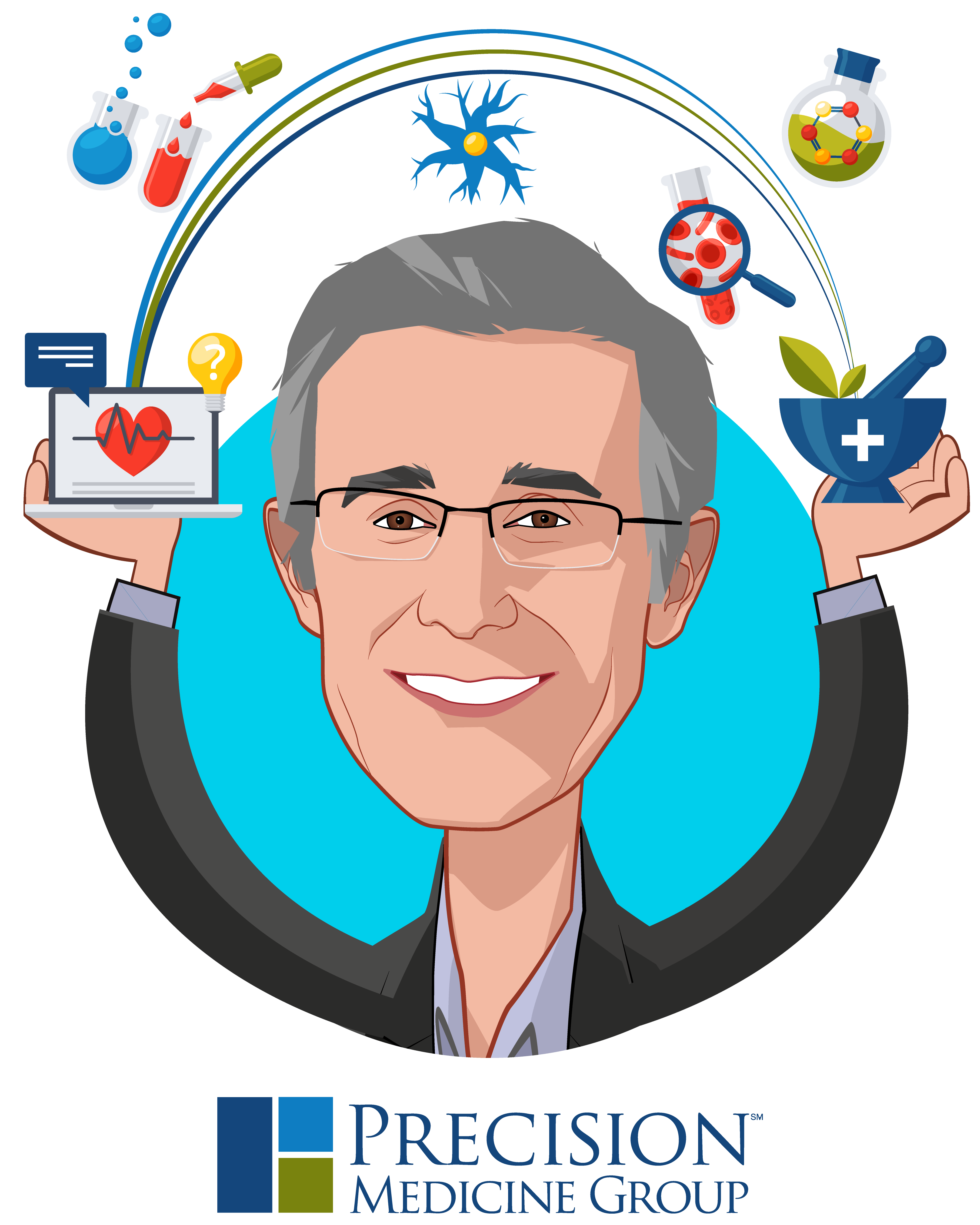 Overlay caricature of Mark Clein, who is speaking at HLTH and is Co-Founder and Chief Executive Officer at Precision Medicine Group