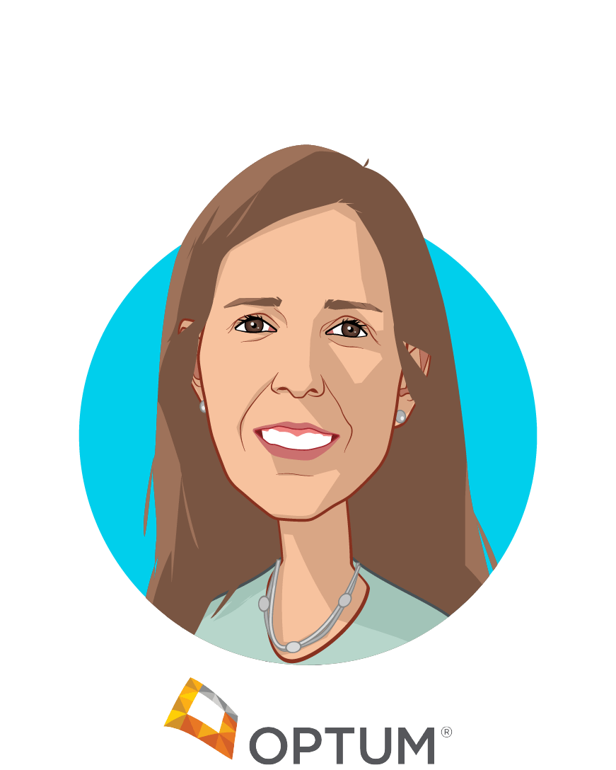 Main caricature of Martha Temple, who is speaking at HLTH and is CEO at Optum Behavioral Health