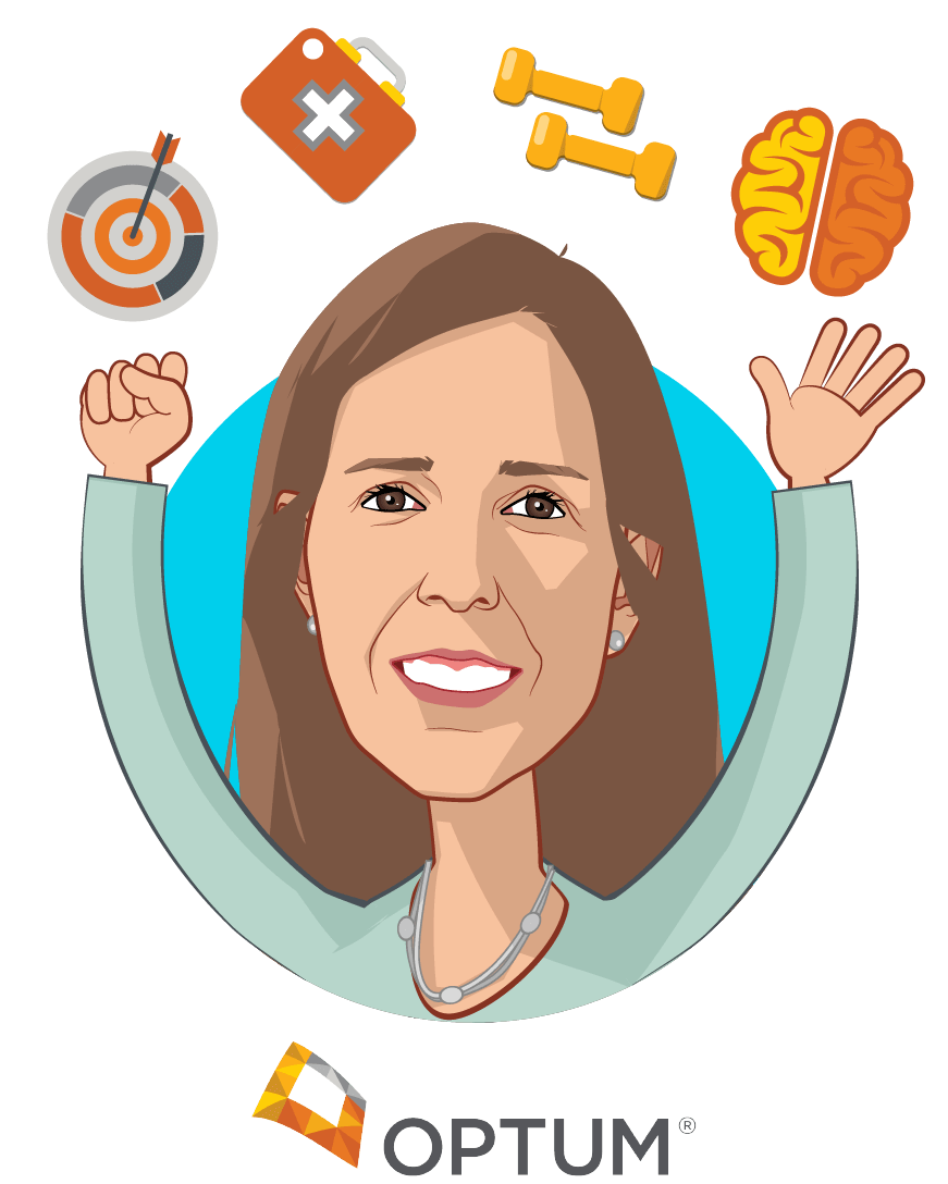 Overlay caricature of Martha Temple, who is speaking at HLTH and is CEO at Optum Behavioral Health