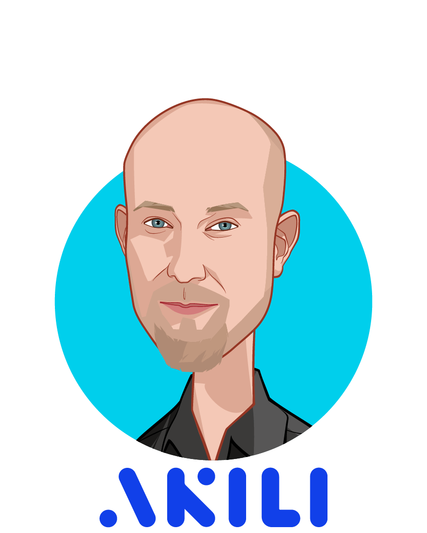 Main caricature of Matt Omernick, who is speaking at HLTH and is Chief Creative Officer at Akili Interactive