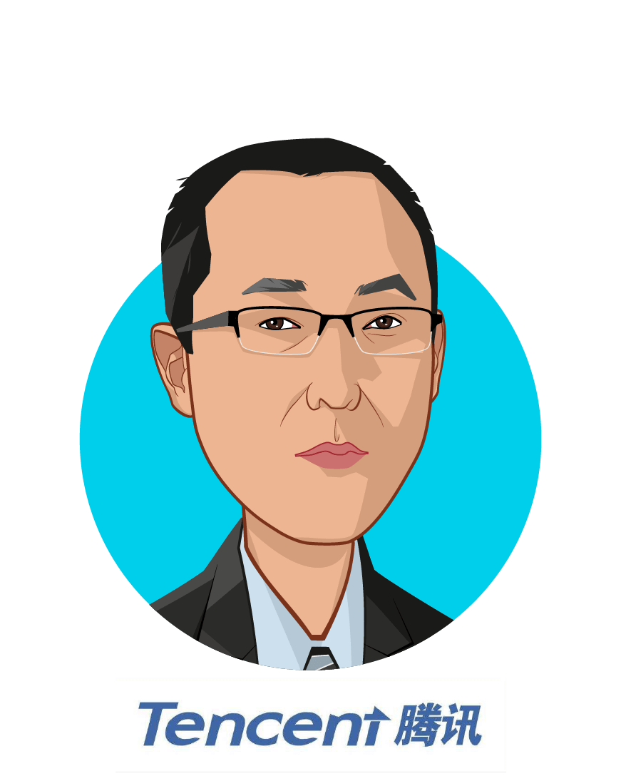 Overlay caricature of Meng Zhang, who is speaking at HLTH and is Vice President at Tencent