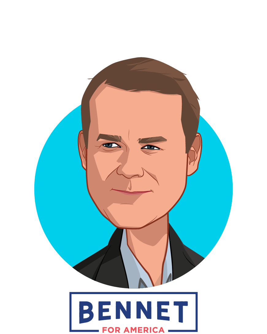 Main caricature of Michael Bennet, who is speaking at HLTH and is Candidate for President at Bennet for America