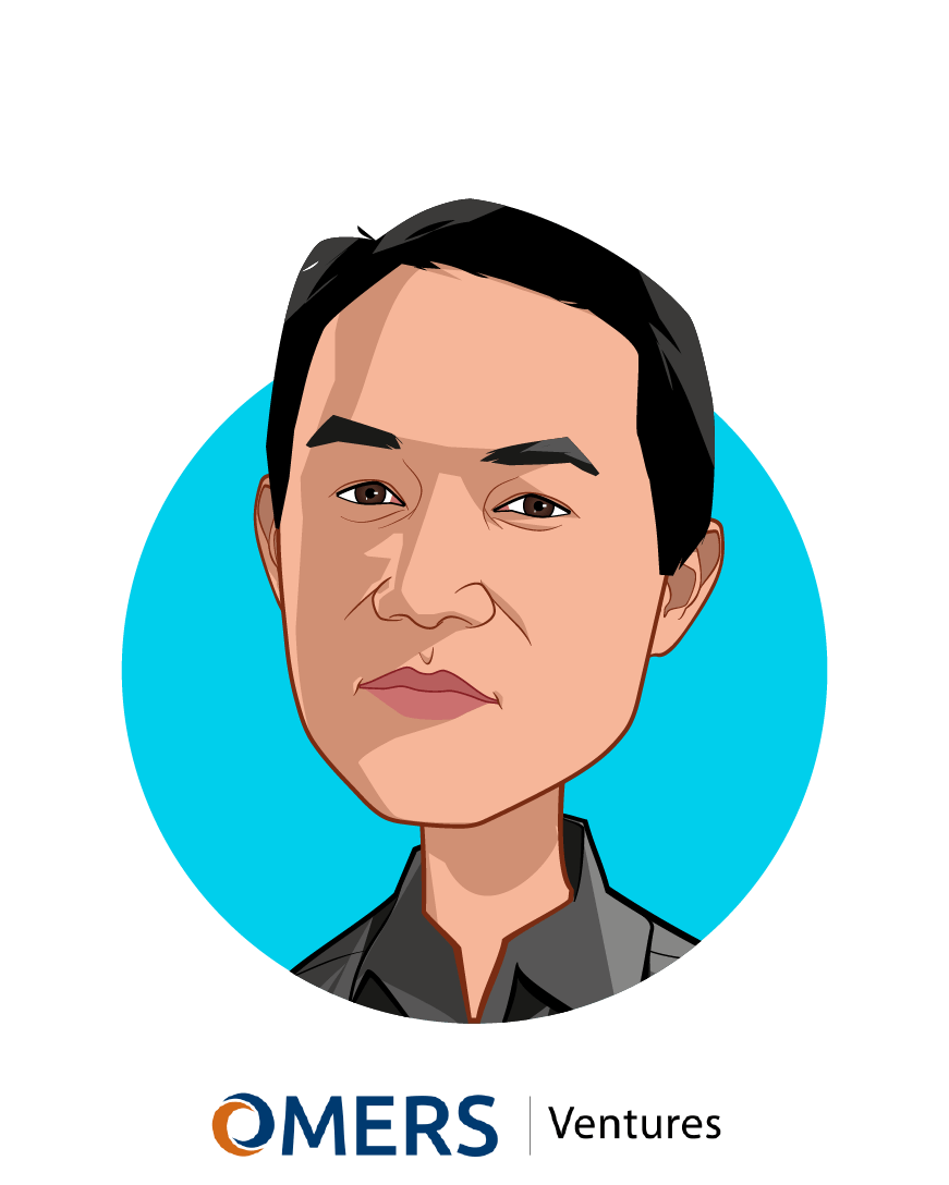 Main caricature of Michael Yang, who is speaking at HLTH and is Managing Partner at OMERS Ventures