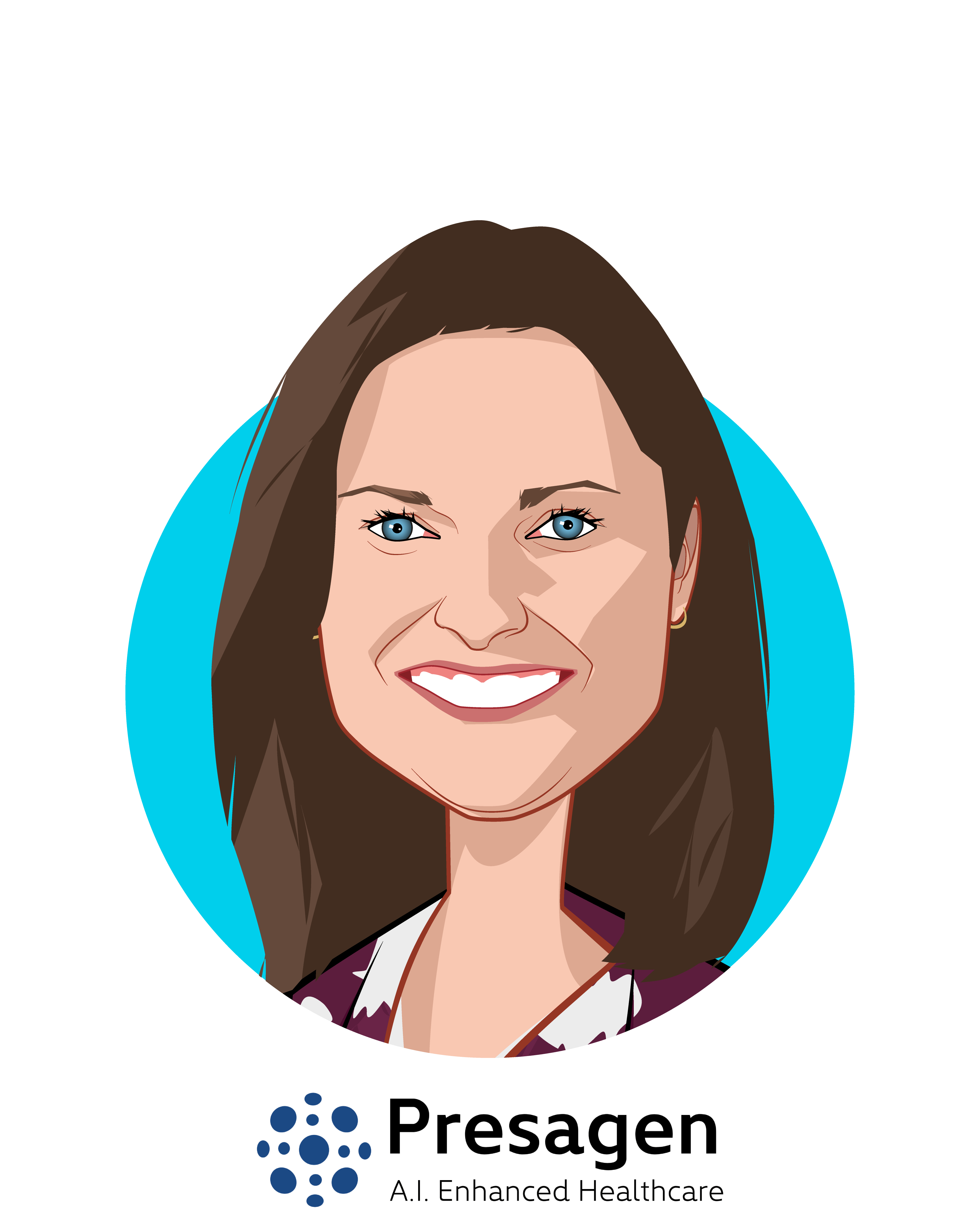 Main caricature of Dr. Michelle Perugini, who is speaking at HLTH and is CEO at Presagen