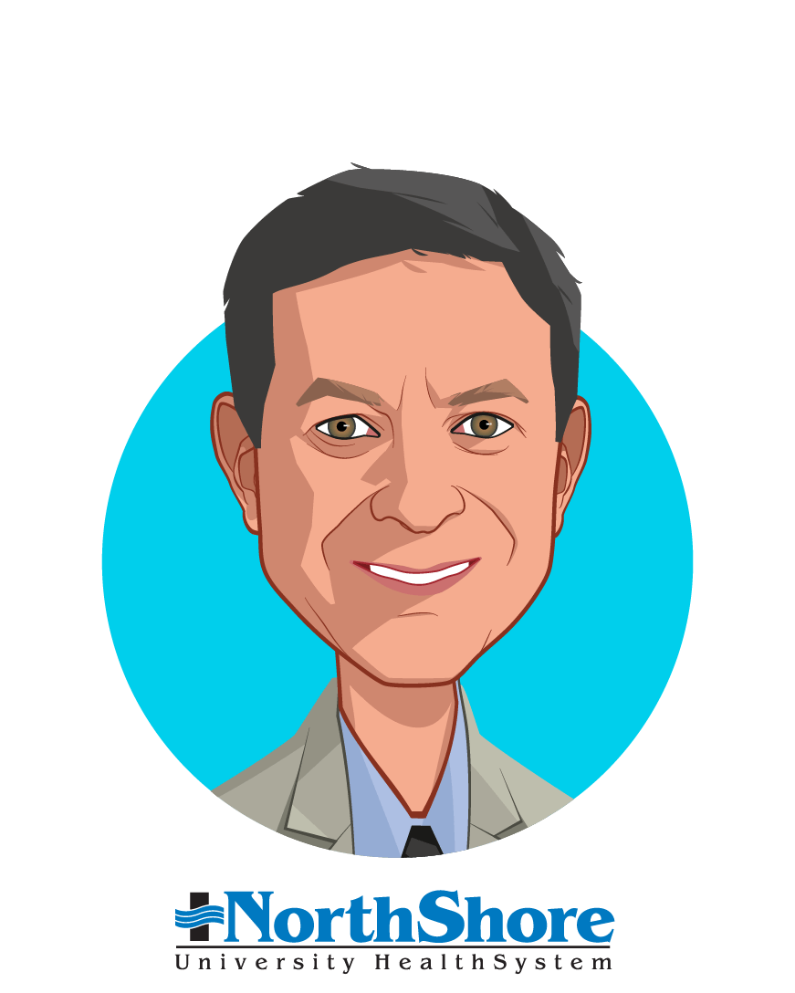 Main caricature of Mickey Caplan, who is speaking at HLTH and is Chief Scientific Officer at NorthShore University HealthSystem