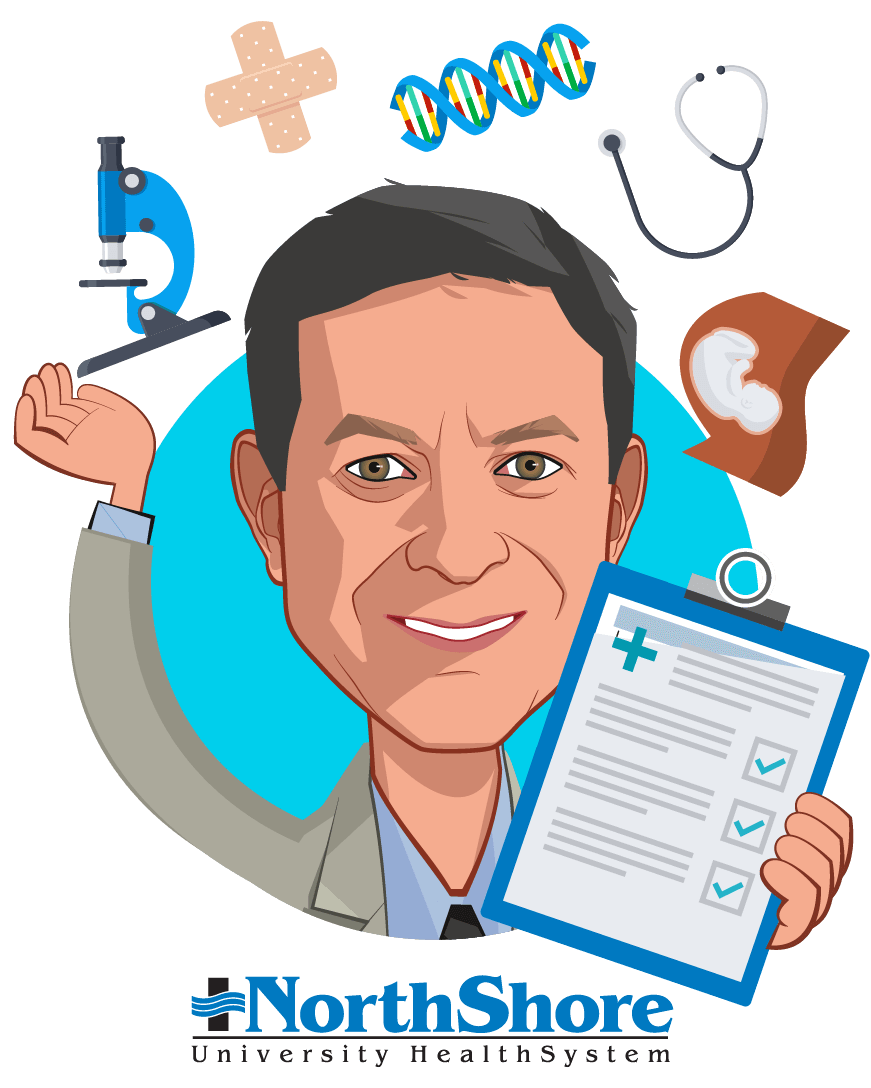 Overlay caricature of Mickey Caplan, who is speaking at HLTH and is Chief Scientific Officer at NorthShore University HealthSystem