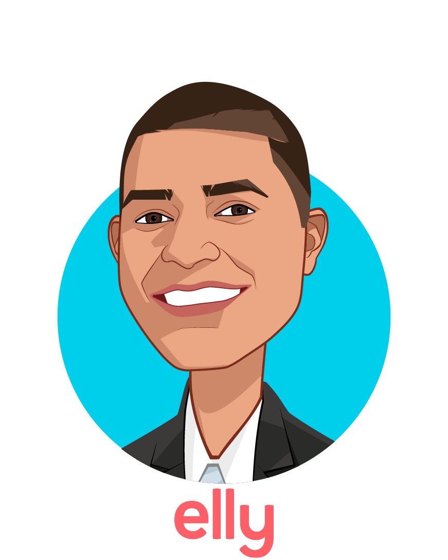Main caricature of Nikhil Pooviah, MD, who is speaking at HLTH and is Co-founder  at Elly Health