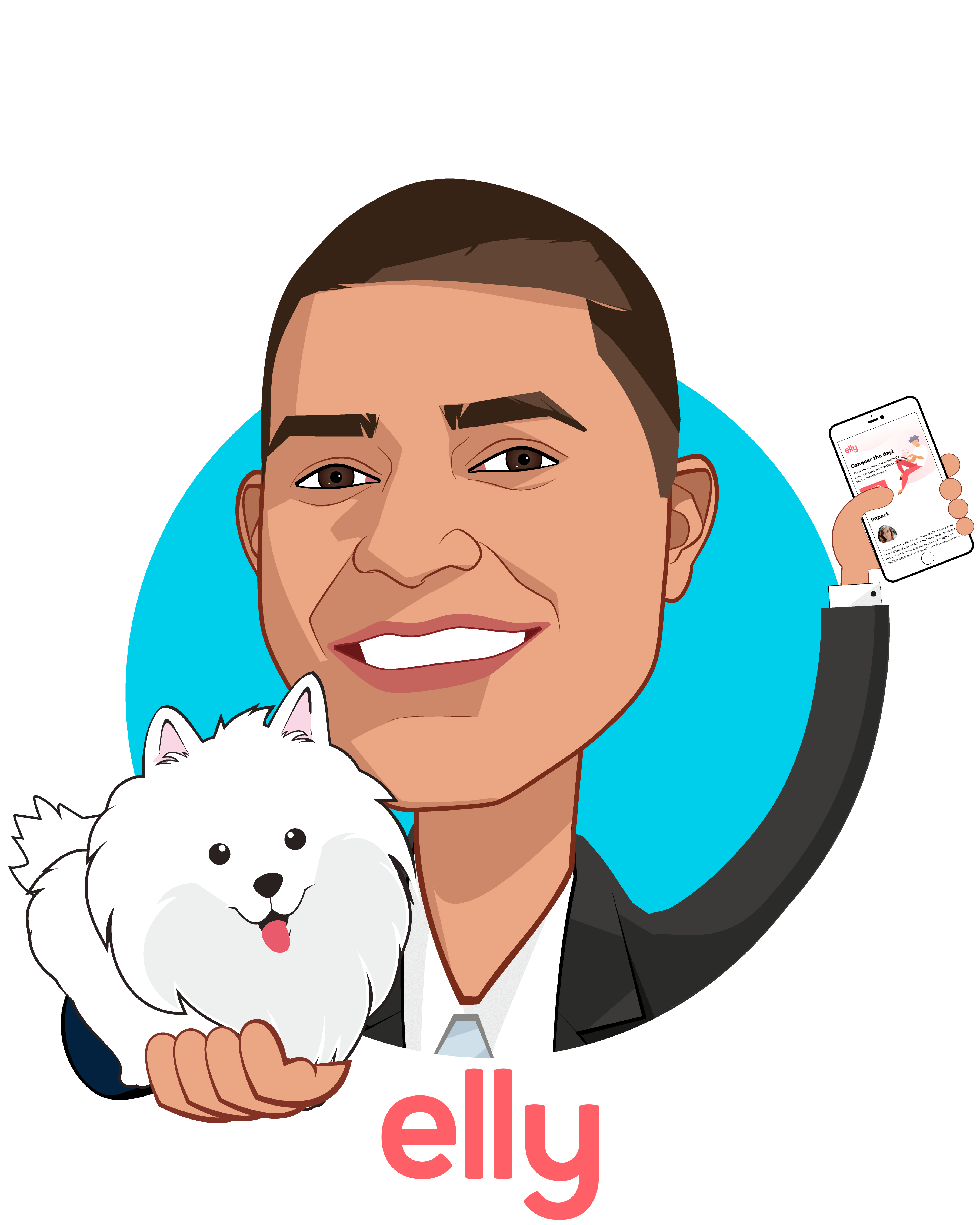 Overlay caricature of Nikhil Pooviah, MD, who is speaking at HLTH and is Co-founder  at Elly Health