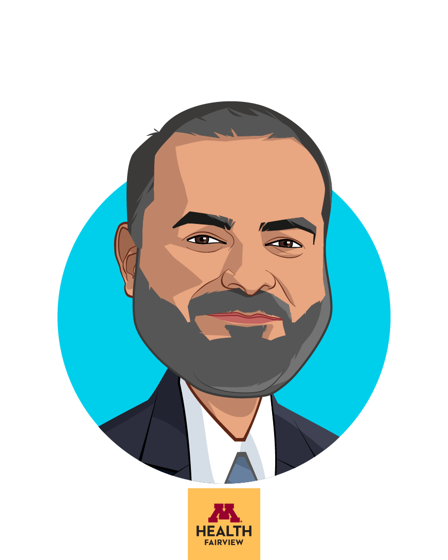 Main caricature of Sameer Badlani, MD, FACP, who is speaking at HLTH and is Chief Information Officer at M Health Fairview