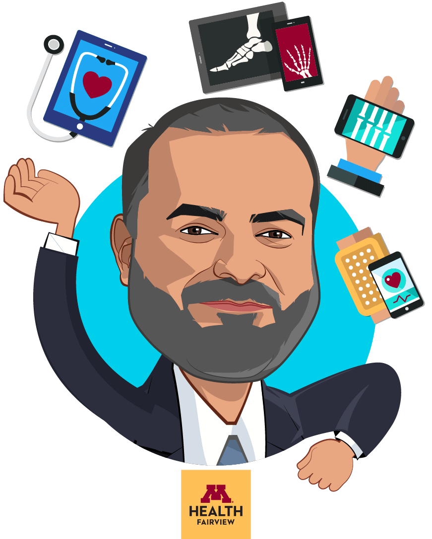 Overlay caricature of Sameer Badlani, MD, FACP, who is speaking at HLTH and is Chief Information Officer at M Health Fairview