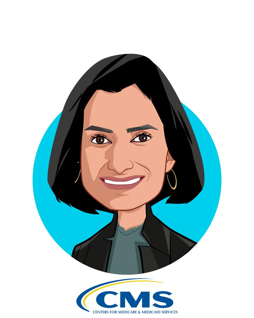 Main caricature of Seema Verma, who is speaking at HLTH and is Administrator at Centers for Medicare & Medicaid Services