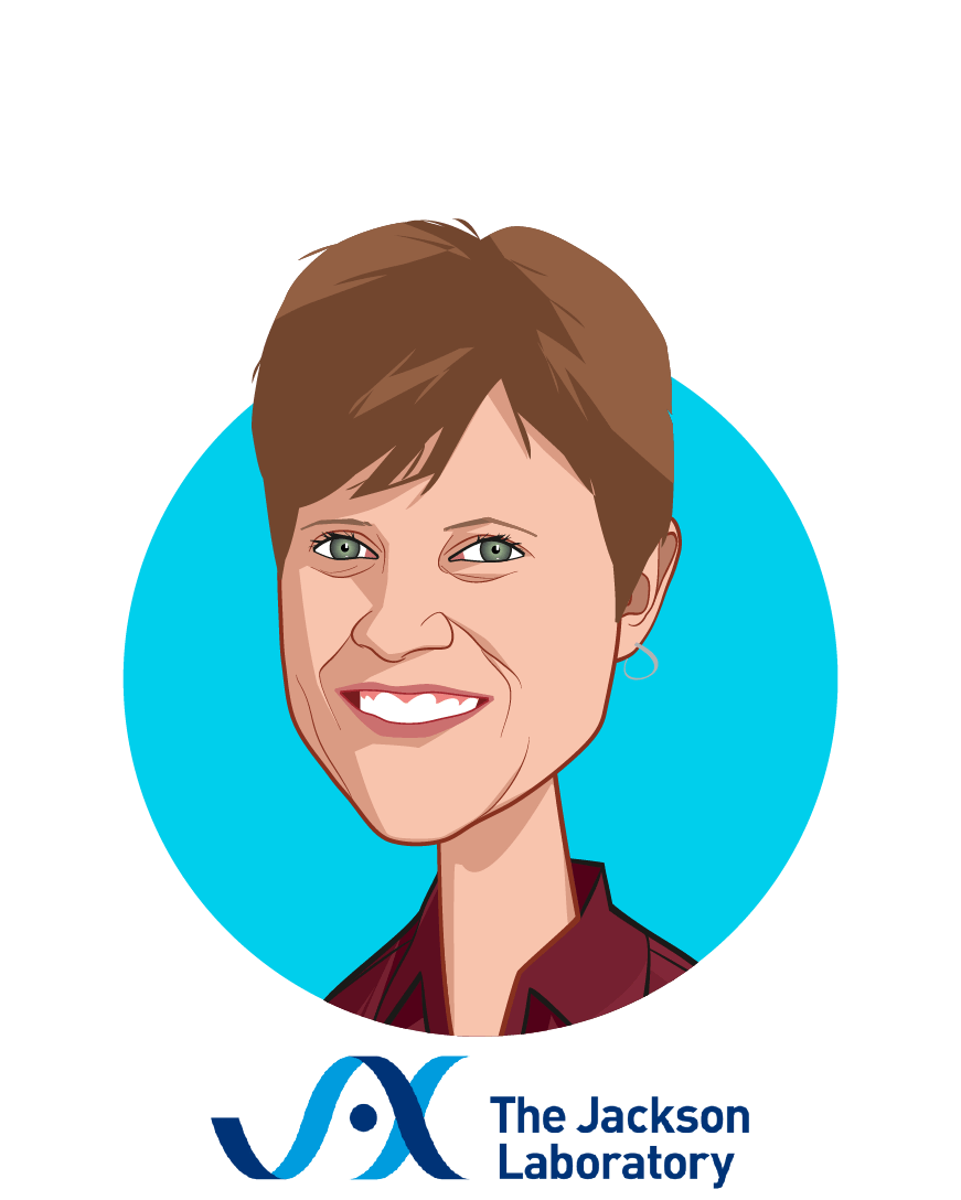 Main caricature of Susan Mockus, Ph.D., MBA, who is speaking at HLTH and is Director, Product Innovation & Strategic Commercialization at The Jackson Laboratory for Genomic Medicine