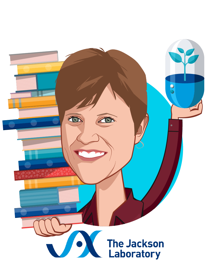 Overlay caricature of Susan Mockus, Ph.D., MBA, who is speaking at HLTH and is Director, Product Innovation & Strategic Commercialization at The Jackson Laboratory for Genomic Medicine