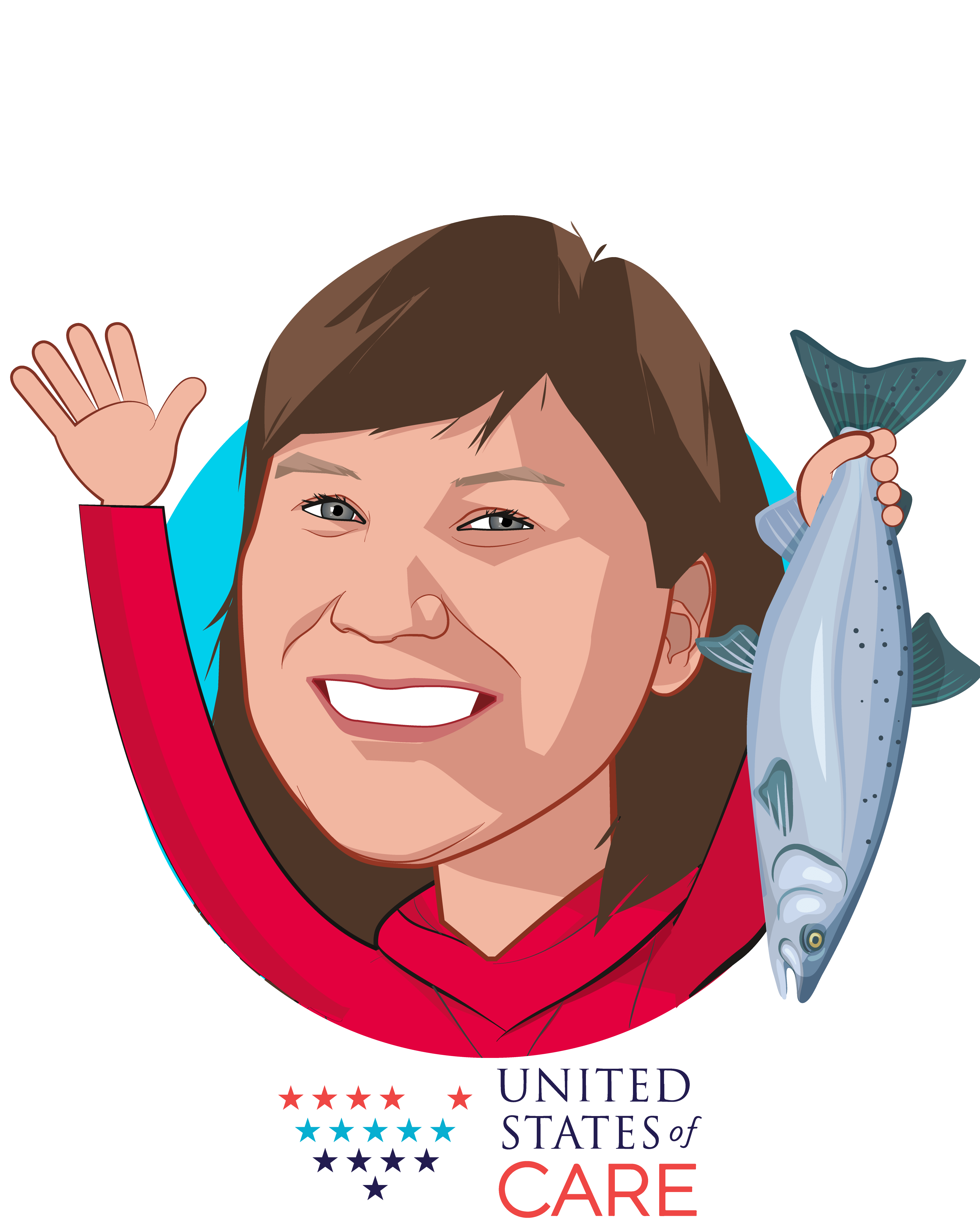 Overlay caricature of Valerie Nurr'araaluk Davidson, who is speaking at HLTH and is Founder's Council Member at United States of Care