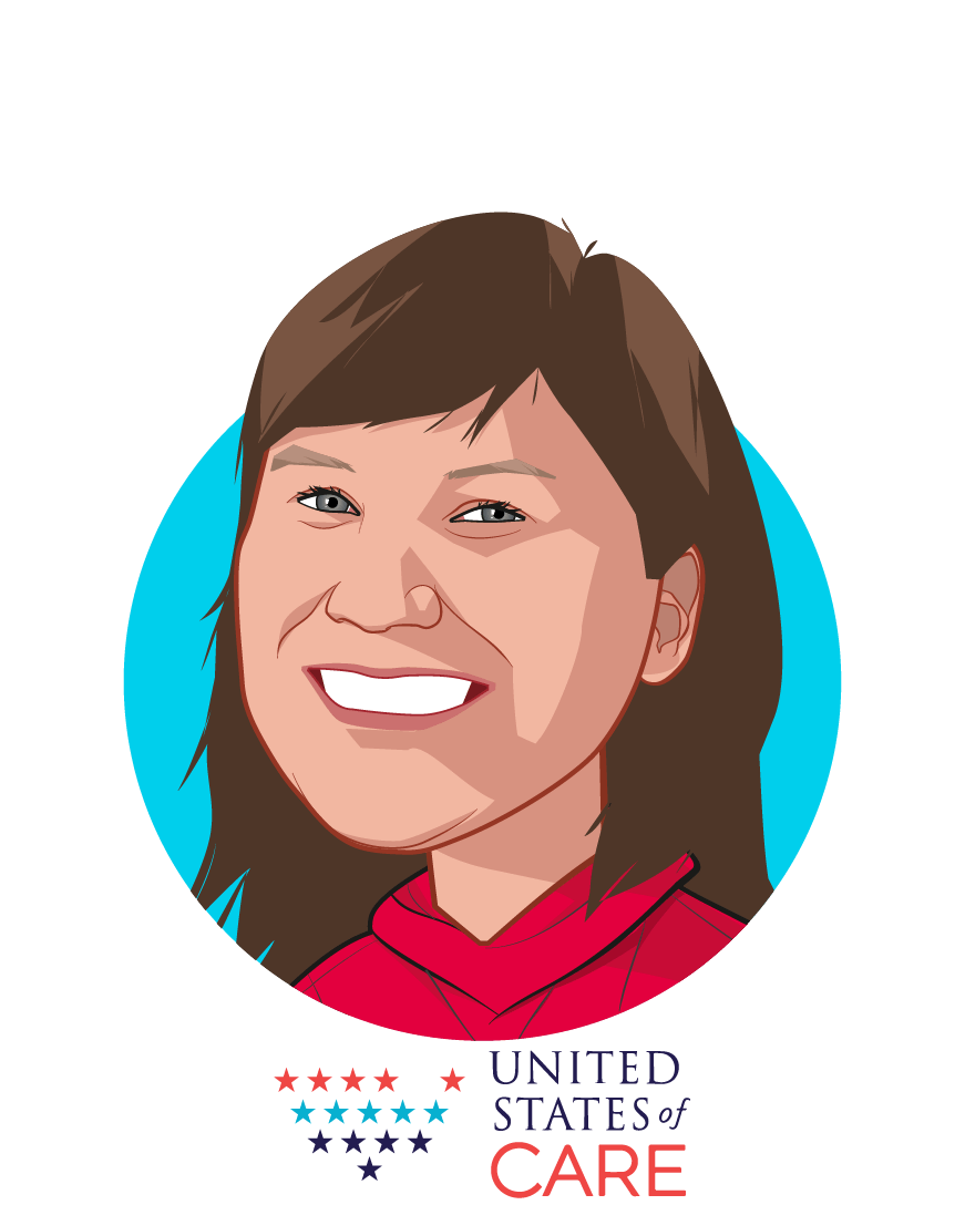 Main caricature of Valerie Nurr'araaluk Davidson, who is speaking at HLTH and is Founder's Council Member at United States of Care