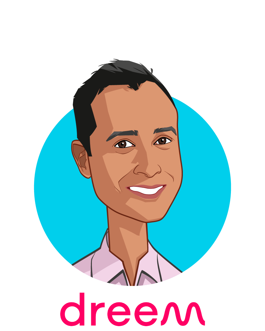 Main caricature of Vik Panda, who is speaking at HLTH and is Managing Director for North America at Dreem